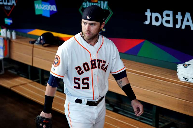 HOUSTON, TX - OCTOBER 04:  Josh Reddick #22 of the Houston Astros looks on from the dugout prior to the ALDS Game 1 between the Tampa Bay Rays and the Houston Astros at Minute Maid Park on Friday, October 4, 2019 in Houston, Texas. (Photo by Cooper Neill/MLB Photos via Getty Images)
