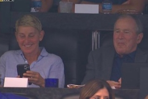 NFL fans had lots of jokes about Ellen sitting next to George W. Bush at Cowboys game