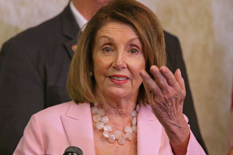 Speaker of the House Nancy Pelosi speaks to the media after a discussion about efforts to peacefully transition to democracy in Venezuela and the effect on Venezuelans living in South Florida, Thursday, Oct. 3, 2019 in Weston, Fla. (John McCall/Sun Sentinel/Tribune News Service via Getty Images)