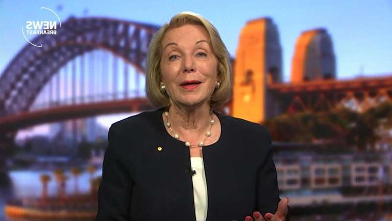 Ita Buttrose wearing a suit and tie: ABC chair Ita Buttrose on News Breakfast. (ABC News)