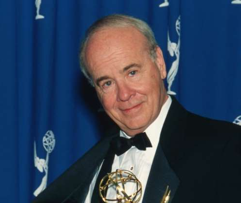Slide 78 of 172: Actor Tim Conway holding his Emmy Award in the press room at the 48th Annual Primetime Emmy Awards on September 8, 1996 at the Pasadena Civic Auditorium in Pasadena, California.