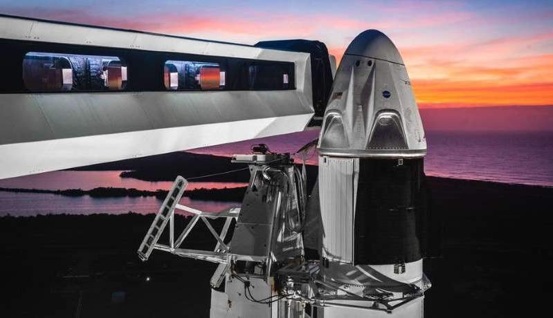 a close up of a train: The SpaceX Crew Dragon will head to the ISS on its first test flight. NASA