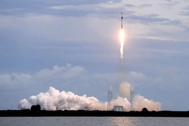 Slide 1 of 39: A Falcon 9 SpaceX rocket with the Israeli-owned Amos 17 commercial communications satellite lifts off from space launch complex 40 at the Cape Canaveral Air Force Station in Cape Canaveral, Fla., Tuesday, Aug. 6, 2019. (AP Photo/John Raoux)