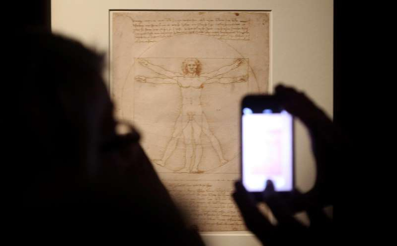 This Tuesday April 14, 2015 photo made available Tuesday Oct. 8, 2019 shows Leonardo da Vinci's