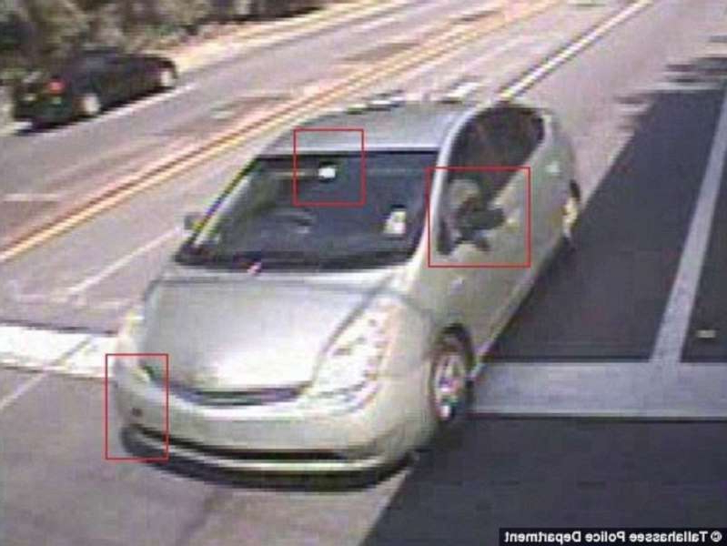 a car parked on the side of a road: Surveillance shows the car Dan Markel's murderers left the scene in.