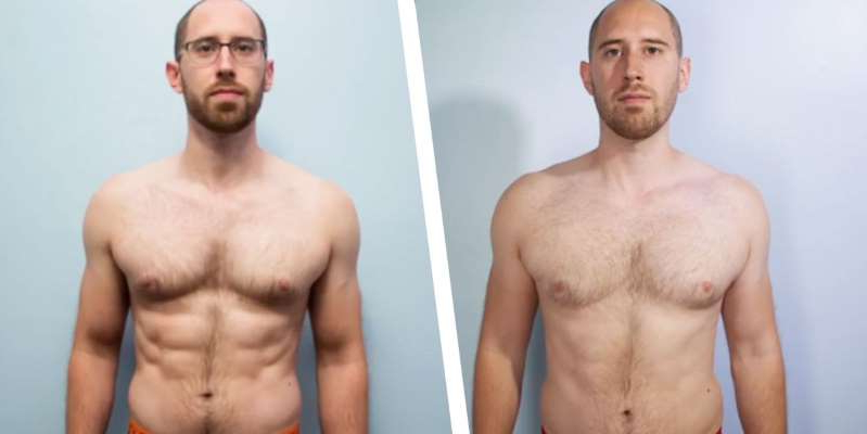 a man in a swimsuit: Brendan Jones, of the YouTube channel Goal Guys, was feeling out of shape, and challenged himself to get shredded abs in just six weeks, tracking his progress.