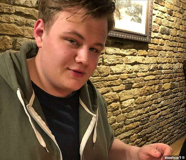 a man standing in front of a brick wall: Harry, 19, was killed n a car crash in Northamptonshire allegedly caused by the diplomat's wife