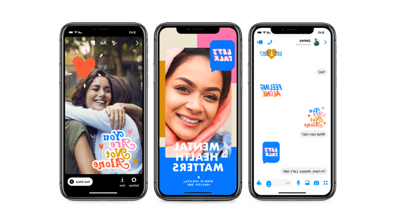 a person taking a selfie: Facebook is releasing a new filter and stickers in honor of World Mental Health Day on Oct. 10. Facebook