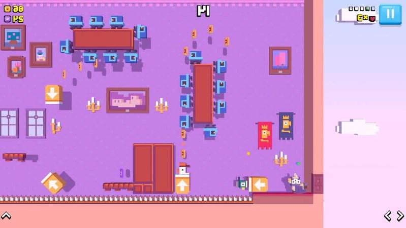 a screenshot of a video game: Crossy Road Castle is a colorful platform game for the whole family. Apple