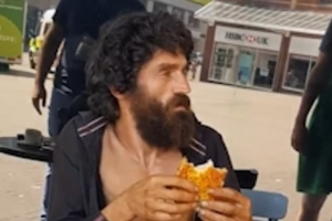 Starbucks staff are filmed trying to throw out a homeless man as he eats an £8.45 meal bought for him by a Good Samaritan
