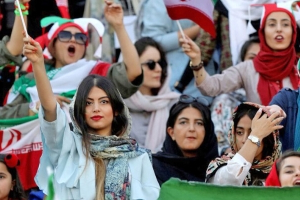 Iranian women watch football from the stands for first time in decades
