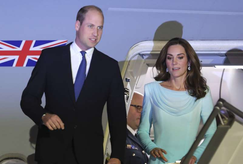 Britain's Prince William and his wife Kate arrived at Nur Khan base in Islamabad, Pakistan, Monday, Oct. 14, 2019. They are on a five-day visit, which authorities say will help further improve relations between the two countries. (AP Photo/B.K. Bangash)