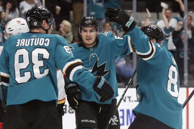 San Jose Sharks right wing Timo Meier, center, celebrates with Brent Burns, left, and Logan Couture after scoring a goal against the Calgary Flames during the first period of an NHL hockey game in San Jose, Calif., Sunday, Oct. 13, 2019. (AP Photo/Jeff Chiu)
