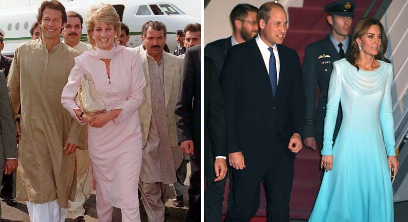 Catherine, Duchess of Cambridge, Prince William, Duke of Cambridge, Diana, Princess of Wales, Imran Khan posing for a photo: Kate Middleton wore a traditional shalwar kameez as she landed in Pakistan following in her late mother-in-laws footsteps. [Photo: Getty/ PA]