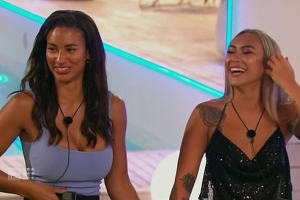 Was the romance between same-sex Love Island pair Cassie Lansdell and Phoebe Thompson set up by producers? Viewers notice an editing fail that shows their first kiss could not have happened as shown