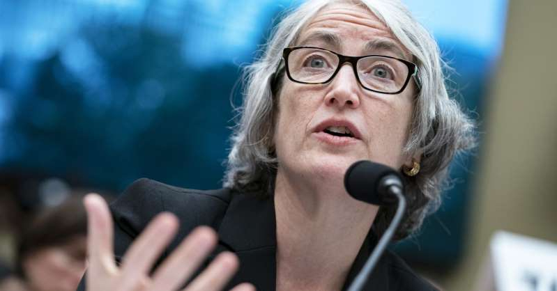 a close up of a person wearing glasses: Anne Schuchat, director of the Centers for Disease Control (CDC), testifies during a House Energy and Commerce hearing in Washington, D.C., on Wednesday, Sept. 25, 2019.