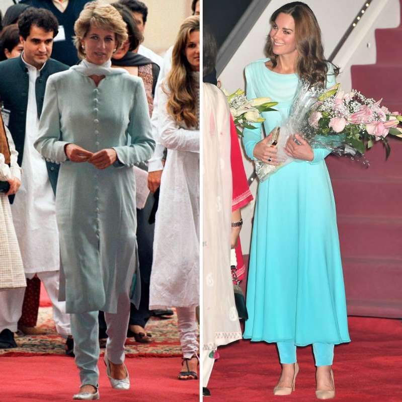 a person standing in front of Catherine, Duchess of Cambridge, Diana, Princess of Wales posing for the camera: Kate Middleton and Princess Diana on their respective trip to Pakistan.