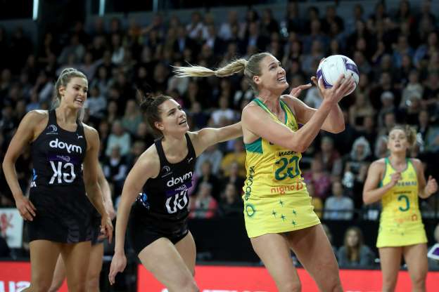 AUCKLAND, NEW ZEALAND - OCTOBER 16: Caitlin Bassett of Australia takes a pass during the 2019 Constellation Cup match between the New Zealand Silver Ferns and the Australia Diamonds at Spark Arena on October 16, 2019 in Auckland, New Zealand. (Photo by Phil Walter/Getty Images)