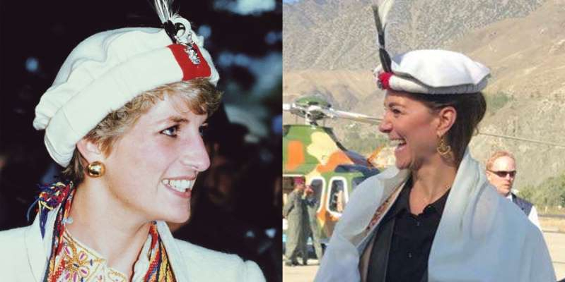 Diana, Princess of Wales et al. wearing a hat: Kate Middleton was given a traditional Chitrali hat during her royal tour of Pakistan. Princess Diana was photographed in a Chitrali hat during her visit to the country in 1991.