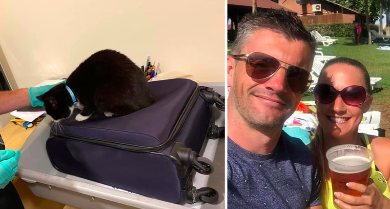 a man wearing sunglasses taking a selfie: Nick and Voirrey Coole were shocked to discover their cat had snuck into their luggage (Caters)