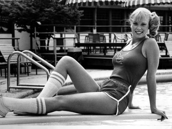 Dorothy Stratten sitting on a bench:  Vancouver native Dorothy Stratten was the 1980 Playboy Playmate of the Year.