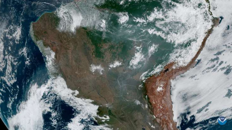 Slide 13 of 13: Fires, burning in the Amazon Rainforest, are pictured from space, captured by the geostationary weather satellite GOES-16 on August 21, 2019 in this handout image obtained from social media. NASA/NOAA/Handout via REUTERS  THIS IMAGE HAS BEEN SUPPLIED BY A THIRD PARTY.