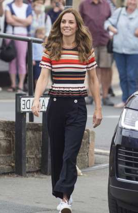 Slide 15 of 184: COWES, ENGLAND - AUGUST 08: Catherine, Duchess of Cambridge arrives at The Royal Yacht Squadron during the inaugural Kings Cup regatta hosted by the Duke and Duchess of Cambridge on August 08, 2019 in Cowes, England. Their Royal Highnesses hope that The Kings Cup will become an annual event bringing greater awareness to the wider benefits of sport, whilst also raising support and funds for Action on Addiction, Place2Be, the Anna Freud National Centre for Children and Families, The Royal Foundation, Child Bereavement UK, Centrepoint, Londonís Air Ambulance Charity and Tusk. on August 08, 2019 in Cowes, England. (Photo by Antony Jones/Getty Images)
