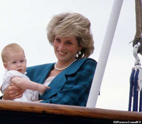 a small child sitting on a table: Princess Diana with Prince Harry on Royal Yacht Britannia visiting Venice British royal tour of Italy in 1985