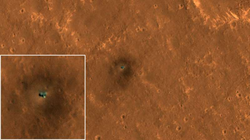a star filled sky: The InSight lander on Mars, with inset showing a close-up view.