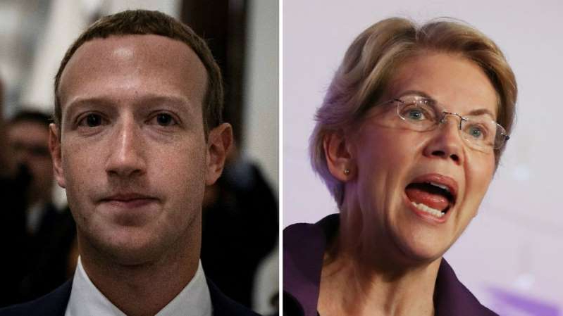 Elizabeth Warren, Mark Zuckerberg are posing for a picture: Warren warns Facebook may help reelect Trump 'and profit off of it'