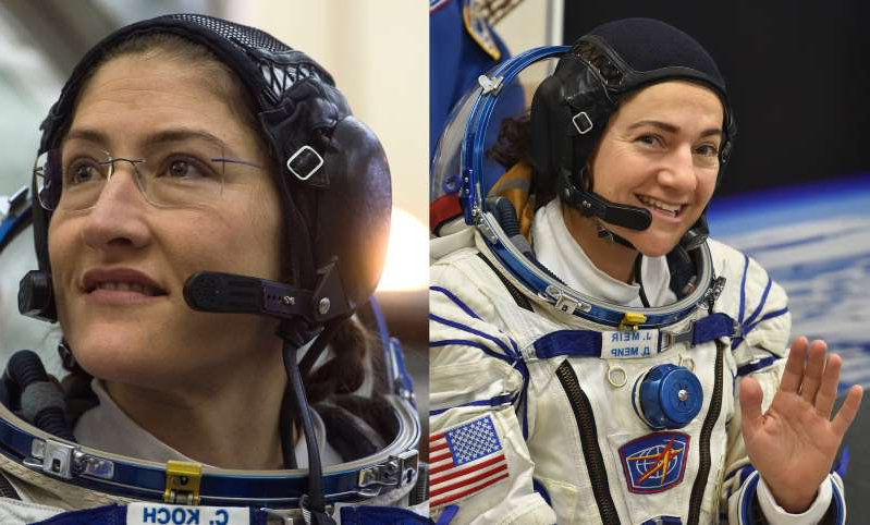 International Space Station (ISS) crew member US astronaut Jessica Meir and NASA astronaut Christina Hammock Koch