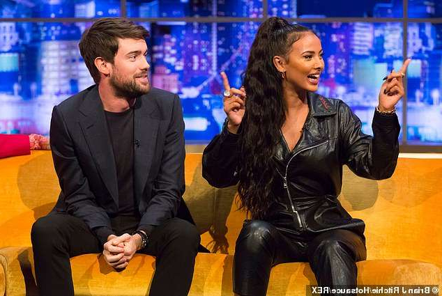 Jessica Lucas, Jack Whitehall sitting in a chair talking on a cell phone: Opening up: Maya, pictured next to comedian Jack Whitehall, also spoke about her father who was in jail when she was three years old and she would visit up until she was 10