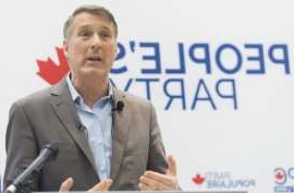 Maxime Bernier wearing a suit and tie: Maxime Bernier's People's Party of Canada is polling at 3.4 per cent in Alberta, while it sits at just 2.3 per cent in Bernier's home province of Quebec, according to CBC's Poll Tracker.