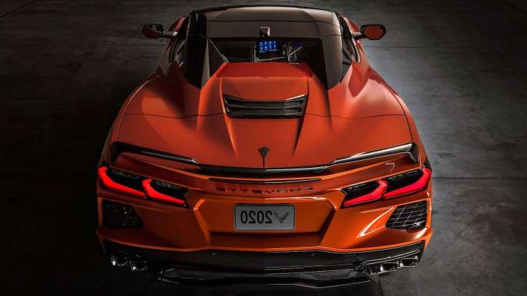 Slide 1 of 24: 2020-Chevrolet-Corvette-Stingray-C8-Convertible-top-up-rear-view.jpg