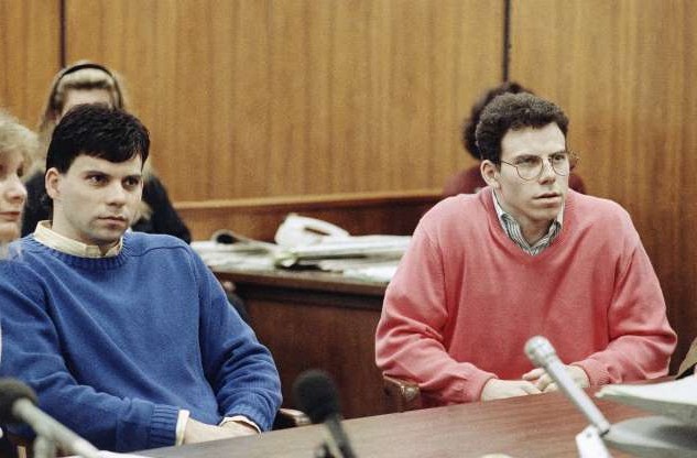 Slide 13 of 16: Erik Menendez, left, and his brother, Lyle, sit in the courtroom, Sept. 1, 1992 in Beverly Hills, California as a judge scheduled an October 13 court session to set a date to begin their preliminary hearing. The brothers are accused of murdering their wealthy parents three years ago.