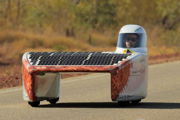 Slide 17 of 30: ELLIOTT, AUSTRALIA - OCTOBER 14: The Vattenfall Solar Team car 'Nuna' from the Netherlands competes in the Challenger class on Day 2 of the 2019 Bridgestone World Solar Challenge at Elliott on October 14, 2019 in Elliott Australia. Teams from across the globe are competing in the 2019 World Solar Challenge - a 3000 km solar-powered vehicle race between Darwin and Adelaide. The race starts on the 13th of October in Darwin in the Northern Territory and travels the Stuart Highway to Port Augusta and then via Highway 1 to finish in the City of Adelaide in South Australia. (Photo by Mark Evans/Getty Images for SATC)