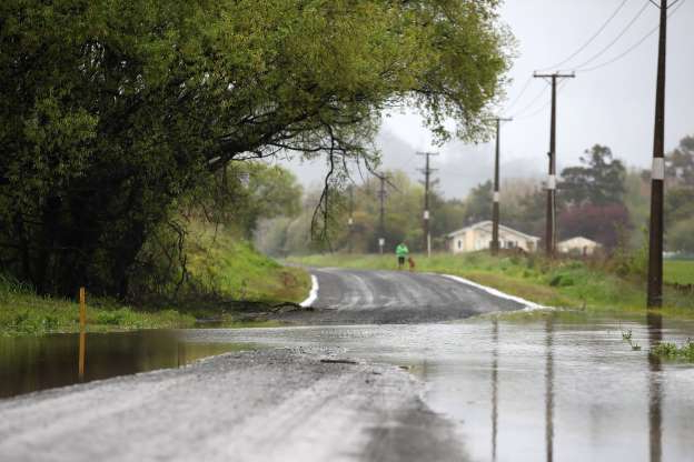 Slide 4 of 30: AUCKLAND, NEW ZEALAND - OCTOBER 15: Floodwaters close roads and affect farmland in Kaipara Flats on October 15, 2019 in Auckland, New Zealand. Heavy rain overnight has caused widespread surface flooding across the upper North Island, with hundreds of homes across Auckland left without power after the city was battered by wind gusts peaking at 100km/h between midnight and 3am. (Photo by Fiona Goodall/Getty Images)
