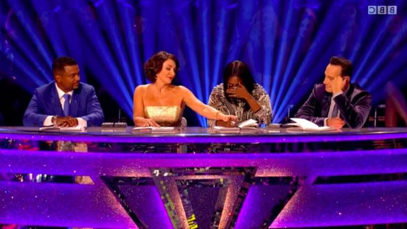 Alfonso Ribeiro et al. sitting on a stage: Motsi Mabuse in tears on Strictly Come Dancing