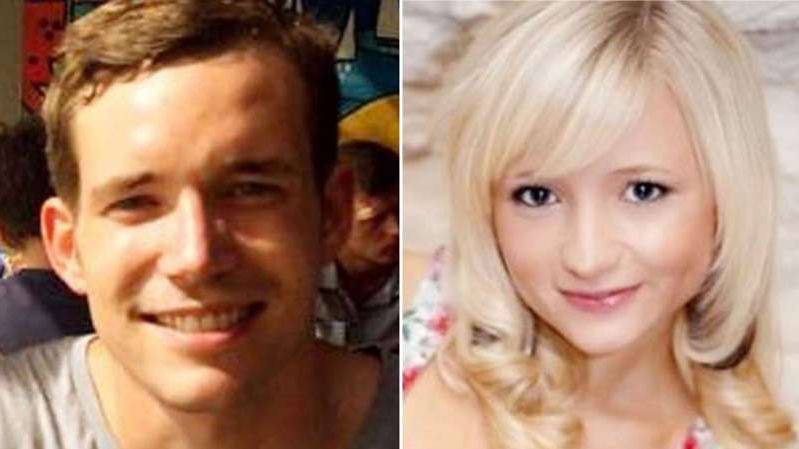 a close up of a couple of people posing for the camera: Hannah Witheridge and David Miller were murdered on the holiday island of Koh Tao