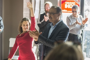 Freeland campaigns for Sohi in Edmonton Saturday