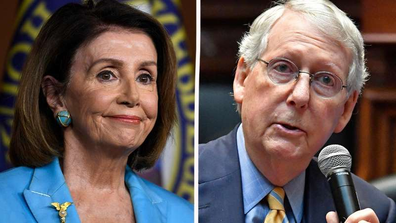 Mitch McConnell, Nancy Pelosi looking at the camera