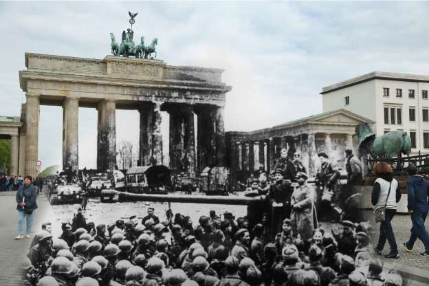 Slide 1 of 24: COMPOSITE: In this digital composite image a comparison has been made showing Russian and U.S. troops in front of the ruins of the Brandenburg Gate at the end of World War II in 1945 (Photo by Central Press/Hulton Archive/Getty Images) and a view from the same perspective on May 2, 2015 in Berlin, Germany. (Photo by Sean Gallup/Getty Images) *** ARCHIVE BLACK AND WHITE *** BERLIN, GERMANY - 1945: Russian and American troops in front of Berlin's Brandenburg Gate at the end of World War II, 1945. (A composite image). (Photo by Central Press/Hulton Archive/Getty Images)*** MODERN DAY COLOR *** BERLIN, GERMANY - MAY 2, 2015: People walk past a sculpture installation (L) on Pariser Platz in front of the Brandenburg Gate on May 2, 2015 in Berlin, Germany. Europe, Russia and the former Allied powers will commemorate the 70th anniversary of the end of World War II and the victory over Nazi Germany on May 8-9. (Photo by Sean Gallup/Getty Images)