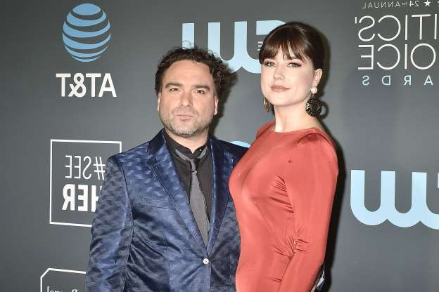 Slide 38 of 61: SANTA MONICA, CA - JANUARY 13:  Alaina Meyer and Johnny Galecki attend the 24th Annual Critics' Choice Awards - Arrivals at Barker Hangar on January 13, 2019 in Santa Monica, California.  (Photo by David Crotty/Patrick McMullan via Getty Images)