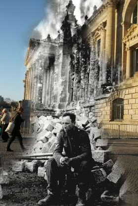 Slide 7 of 24: COMPOSITE: In this digital composite image a comparison has been made showing a German soldier sitting in front of the ruins of the Reichstag at the end of Worl War II on May 9, 1945 (Photo by Laski Diffusion/Getty Images) and a view from the same perspective on March 18, 2015 in Berlin, Germany. (Photo by Sean Gallup/Getty Images) *** ARCHIVE BLACK AND WHITE *** BERLIN, GERMANY - MAY 9, 1945: A German soldier sits on the ruins of the Reichstag on May 9, 1945, Berlin, Germany in this photo taken by Russian photographer Mark Redkin. (Photo by Laski Diffusion/Getty Images)*** MODERN DAY COLOR *** BERLIN, GERMANY - MARCH 18, 2015: People walk past the Reichstag on March 18, 2015 in Berlin, Germany. Europe, Russia and the former Allied powers will commemorate the 70th anniversary of the end of World War II and the victory over Nazi Germany on May 8-9. (Photo by Sean Gallup/Getty Images)