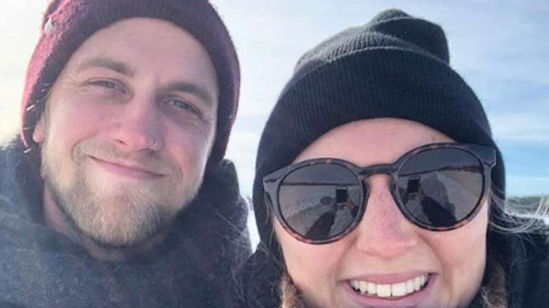 a close up of a man and a woman wearing a hat and sunglasses: Electrician Luke Bevan, 25, from the Kimberleys in WA, was on the island of Lombok on a dive course with his girlfriend Tova Ronnersjo, when the accident happened in August.