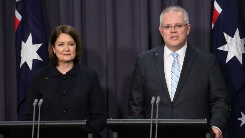 Scott Morrison, Sarah Henderson are posing for a picture: Sarah Henderson returned to Parliament in September as a senator having lost her Lower House seat in the federal election. (ABC News: Adam Kennedy)