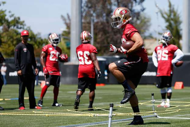 Slide 20 of 31: Jarryd Hayne #38 of the San Francisco 49ers participates in practice drills during a media opportunity at Levi's Stadium on April 29, 2015 in Santa Clara, California.