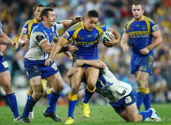 Slide 3 of 31: Jarryd Hayne of the Eels in action during the round eight NRL match between the Parramatta Eels and the Canterbury-Bankstown Bulldogs at ANZ Stadium on April 30, 2010 in Sydney, Australia