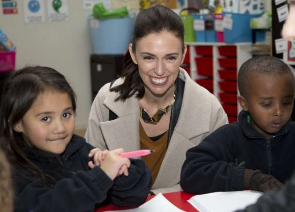 Slide 5 of 17: FILE - In this Wednesday, Aug. 16, 2017, file photo, New Zealand Labour Party leader Jacinda Ardern talks with students during a visit to Addington School in Christchurch, New Zealand. Ardern has been riding a wave of popularity since taking over as New Zealand's opposition leader last month. The 37-year-old is hoping to unseat conservative Prime Minister Bill English, 55, when the nation votes in the general election on Saturday. (AP Photo/Mark Baker, File)