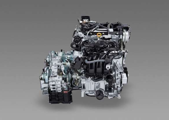 a car engine: This is one of the new Yaris' available three-cylinder engines.